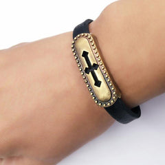 Metal Cross Leather Bracelet Free Just pay Shipping | Angelic Gift Shop