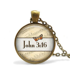 John 3:16 Bible Verse Pendant Necklace