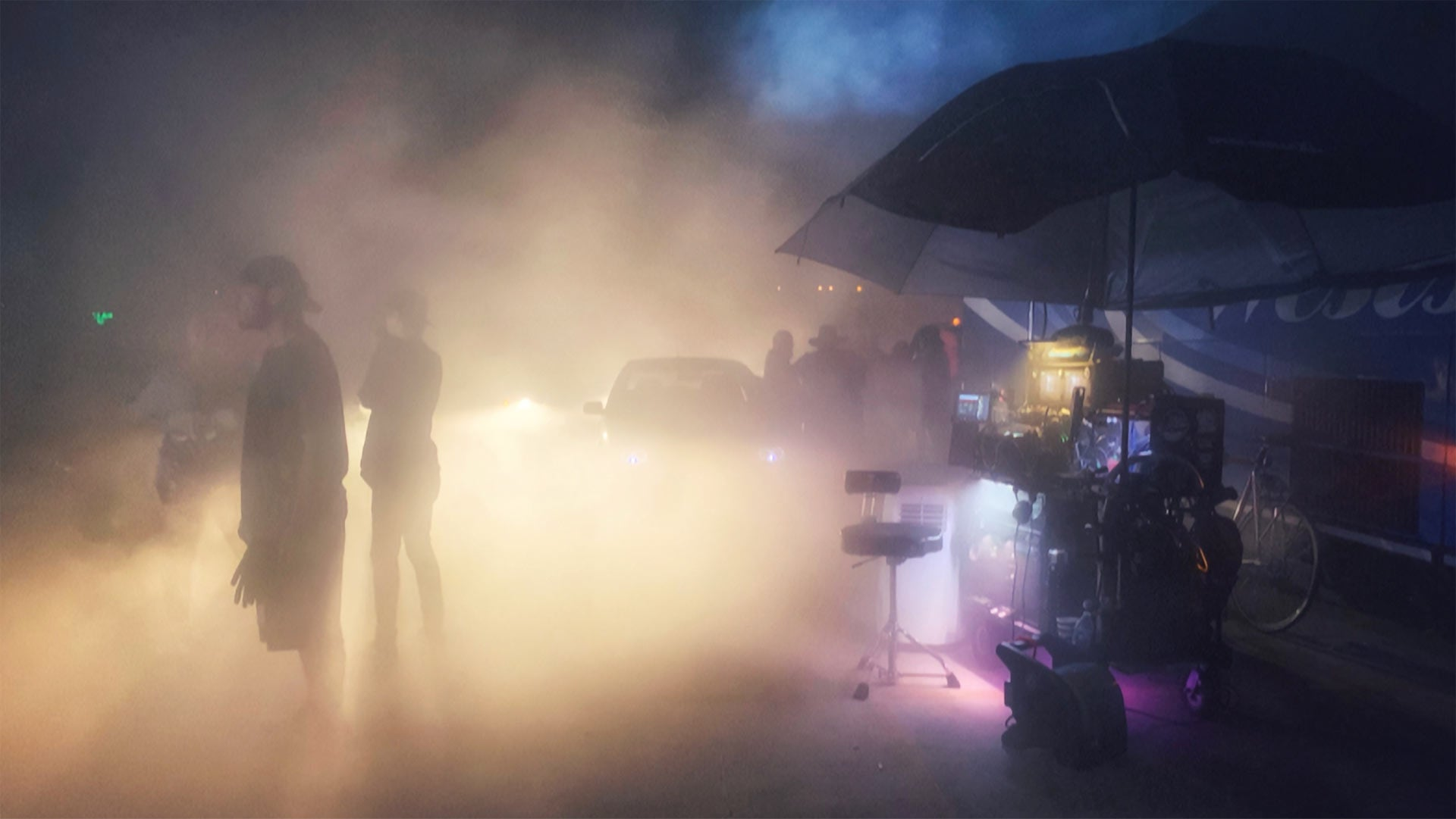 Smoke machines on the set of Bill & Ted Face the Music