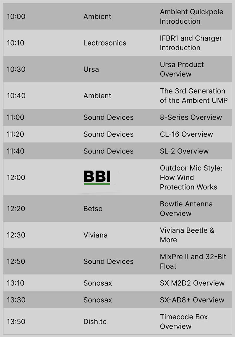 The Sound Summit Schedule April 30, 2020