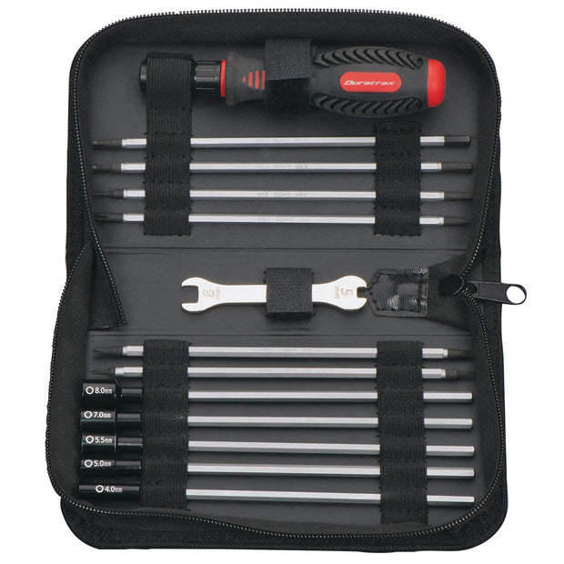 Tool set with pouch (includes 1.5mm, 2.0mm, 2.5mm, 3.0mm, 3.5mm, 4mm drivers/ 4mm, 5mm, 5.5mm, 7mm and 8mm nut drivers/ 2mm, 4mm, and 5mm slotted screwdrivers/ #00 Phillips, #0 Phillips, and #1 Phillips screwdrivers/ 4mm and 8mm wrench/ driver handle