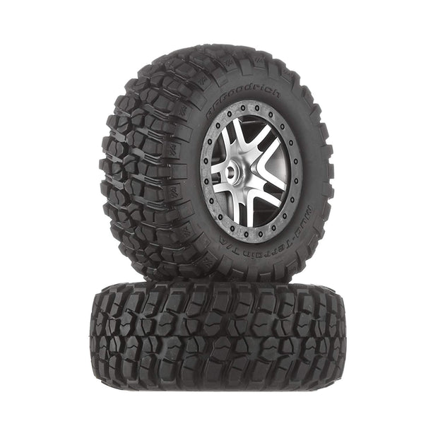 Tires & wheels, assembled, glued (SCT Split-Spoke satin chrome, black beadlock style wheels, BFGoodrich® Mud-Terrain™  T/A® KM2 tires, foam inserts) (2) (4WD f/r, 2WD rear) (TSM rated)