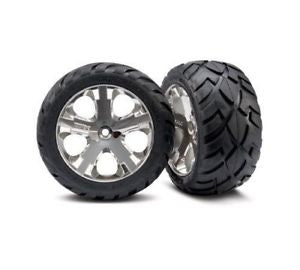 Tires & wheels, assembled, glued (All Star chrome wheels, Anaconda® tires, foam inserts) (2WD electric rear) (1 left, 1 right)