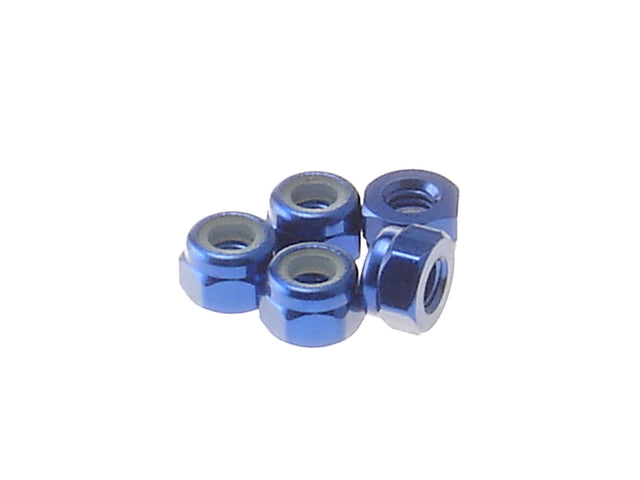 Hiro Seiko 4mm Alloy Nylon Nut (5pcs Blue)