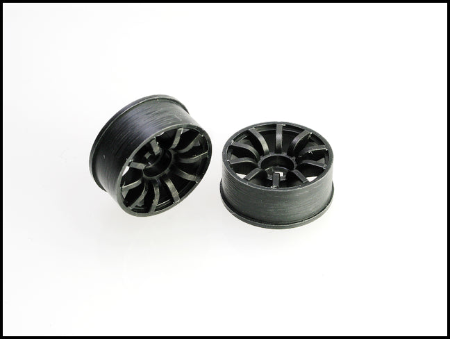 PN Racing Machine Cut 10 Spoke Front Wheels F0 Black  (1 pair) 2WD