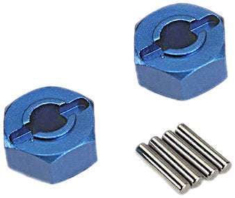Wheel hubs, hex (blue-anodized, lightweight aluminum) (2)/ axle pins(4)