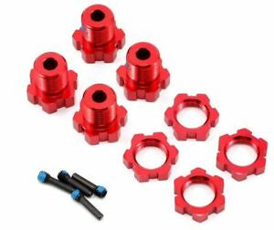 Wheel hubs, splined, 17mm (red-anodized) (4)/ wheel nuts, splined, 17mm (red-anodized) (4)/ screw pins, 4x13mm (with threadlock) (4)