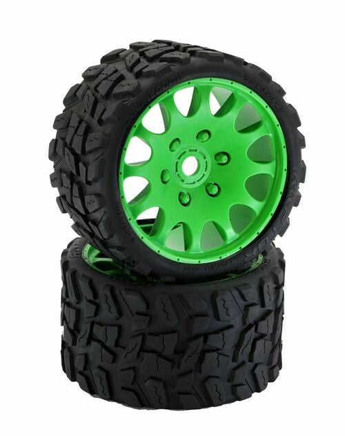 Power Hobby Raptor Belted Monster Truck Tires on Viper Wheels 17mm Hex (Green)
