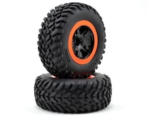 Tires & wheels, assembled, glued (SCT Split-Spoke Black, Orange  tires, foam inserts) (2) (4WD F/R,2WD FRONT)