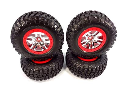 Tires & wheels, assembled, glued (SCT Split-Spoke chrome, red beadlock style wheels, BFGoodrich® Mud-Terrain™  T/A® KM2 tires, foam inserts) (2) (4WD f/r, 2WD rear)