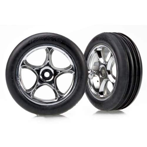 Tires & wheels, assembled (Tracer 2.2' chrome wheels, Alias ribbed 2.2' tires) (2) (Bandit front, soft compound w/ foam inserts)
