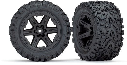 Tires & wheels, assembled, glued (2.8') (RXT black wheels, Talon Extreme tires, foam inserts) (2) (TSM rated)
