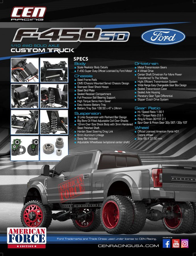 Ford F450 1/10 4WD Solid Axle (Titanium Grey)