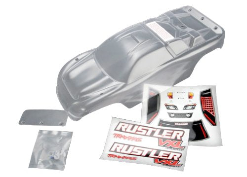 Body, Rustler® (clear, requires painting)/window, lights decal sheet/ wing and aluminum hardware