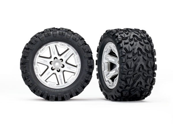 Tires & wheels, assembled, glued (2.8') (RXT Silver wheels, Talon Extreme tires, foam inserts) (2) (TSM rated)