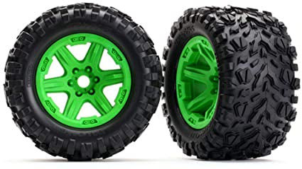 Tires & wheels, assembled, glued (Green wheels, Talon EXT tires, foam inserts) (2) (17mm splined) (TSM rated)