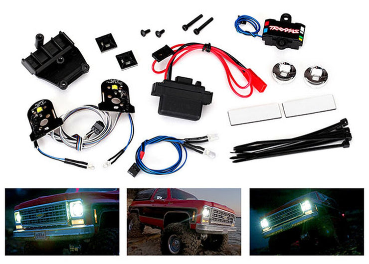 LED light set, complete with power supply (contains headlights, tail lights, side markerlights, & distribution block) (fits #8130 body)