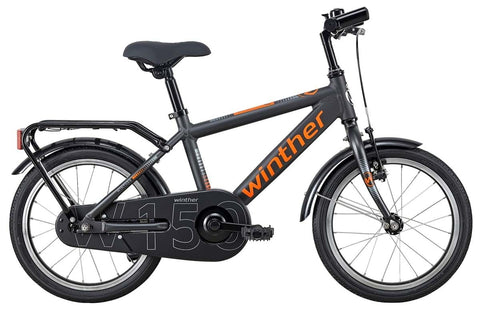 Winther 150 Boy 18' MatDarkGrey/Orange drengecykel