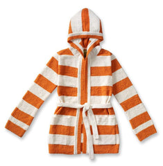 Woman's Hooded Car Coat in Orange/Creme