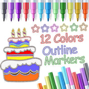 12 Colors Metallic Outline Markers Set
