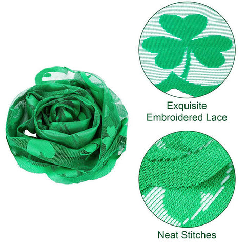 Green Shamrock Embroidery Table Runner for Festival