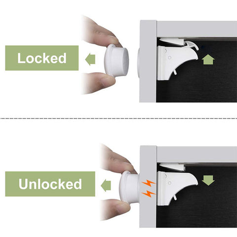 Child Proof Hidden Magnetic Cabinet Locks 4pcs/pack