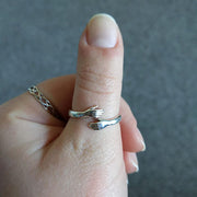 S925 Silver Adjustable Love Hug Ring (For both Male & Female)