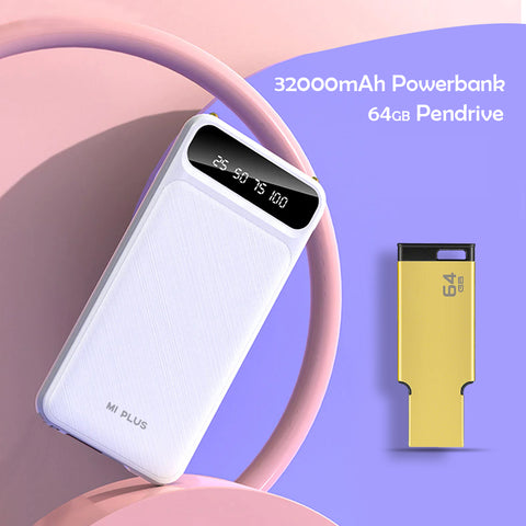 Fast Charging 32000mAh Power Bank with Free 64 GB Pen drive