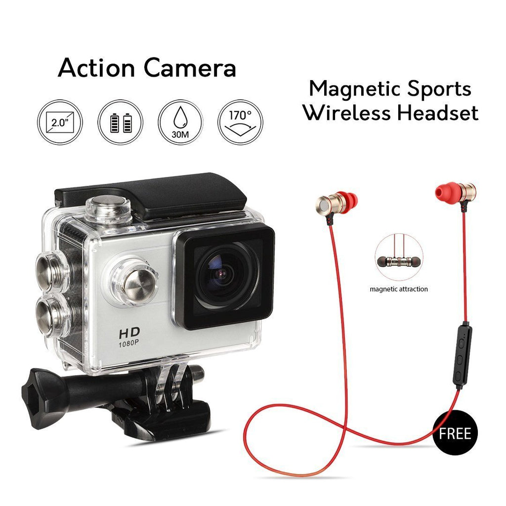 Full HD Wifi Action Sports Camera with Magnetic sports Wireless Headset