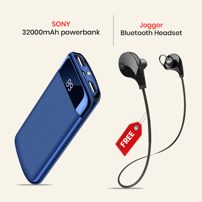 Fast Charging 32000mAh Power Bank With Jogger BT Headset