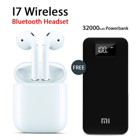 I7 Wireless Bluetooth Headset With Free Mi 32000mAh Power Bank