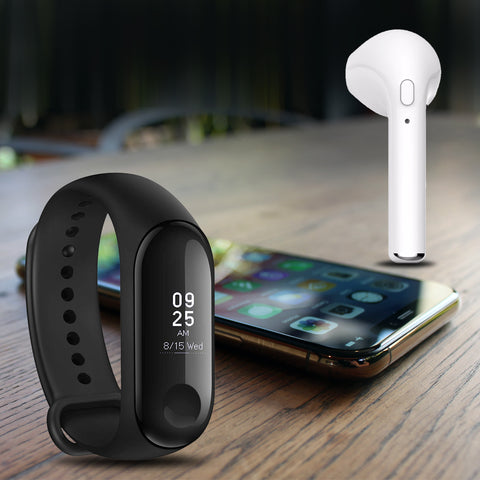 Mi Plus M3 Fitness Smart Band With Free I7 Bluetooth Headset
