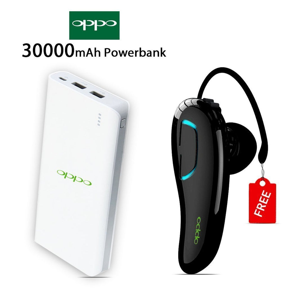 Buy Online 30000mAH Power Bank & Get Oppo Bluetooth Headset Free