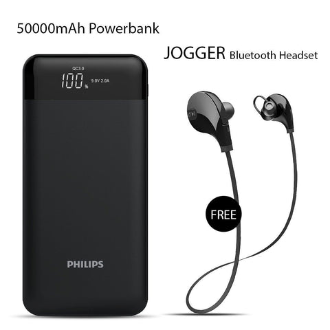 Buy Online Philips 50000mAh Power Bank And Get  Jogger Bluetooth Headset Free