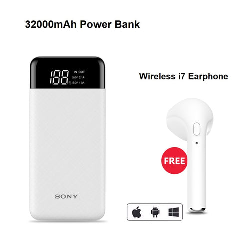 Fast Charging 32000mAh Power Bank with Free i7 Wireless Earphone