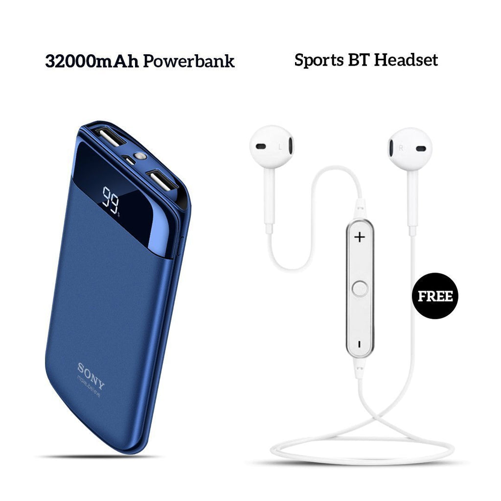 Buy Sony  32000mAh Power Bank With Free Sports Wireless Headset