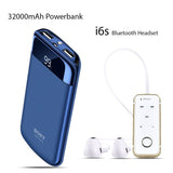 32000mAh Power Bank With Free i6S Bluetooth Headset