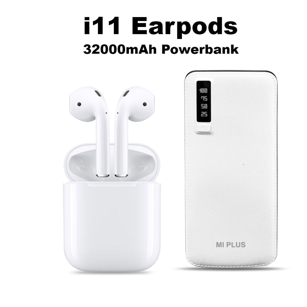 MI Plus 32000 mAh Power Bank + i11 Wireless Bluetooth Headset