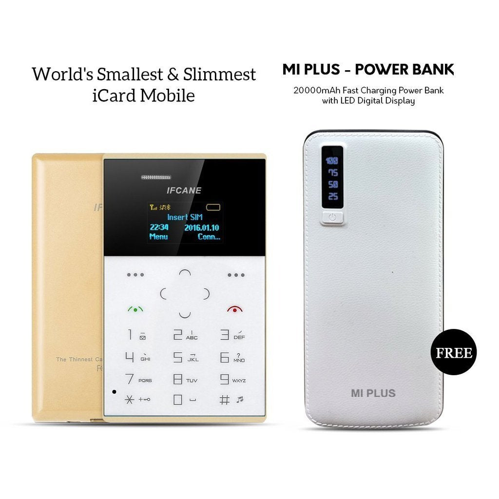 World's Smallest & slimmest Icard Mobile With free Mi Plus 20000mAH Power Bank