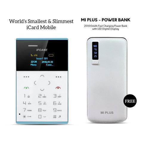 World's Slimmest Icard Mobile And Get Mi Plus 20000mAH Power Bank