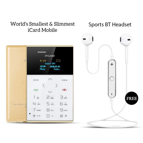 World's Smallest & slimmest Icard Mobile With Sports Bluetooth Headset