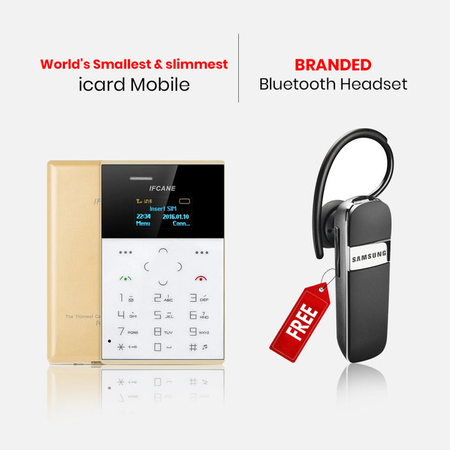 World's Smallest & Slimmest Icard Mobile With Bluetooth