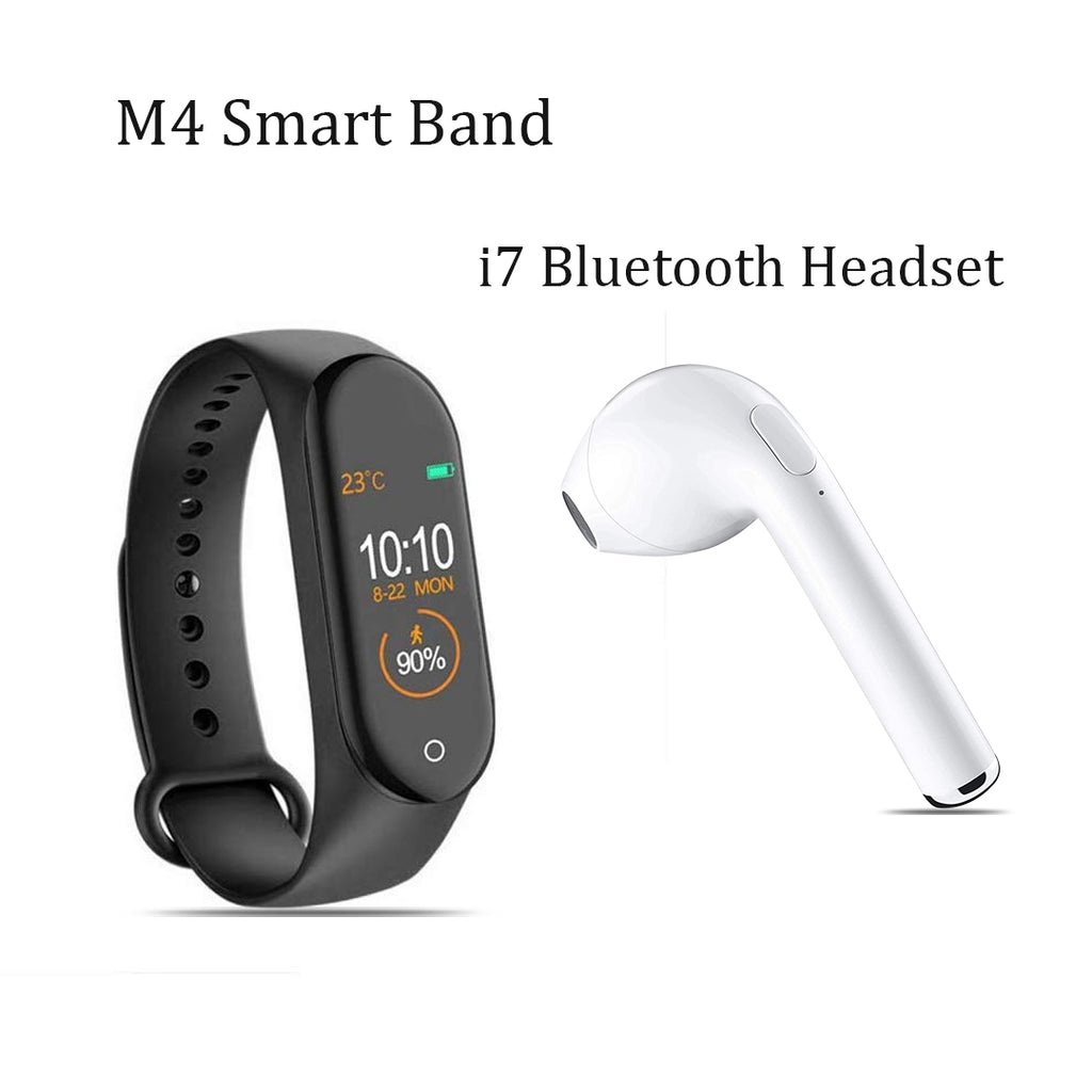 M4 Smart Fitness Band With i7 Bluetooth Headset