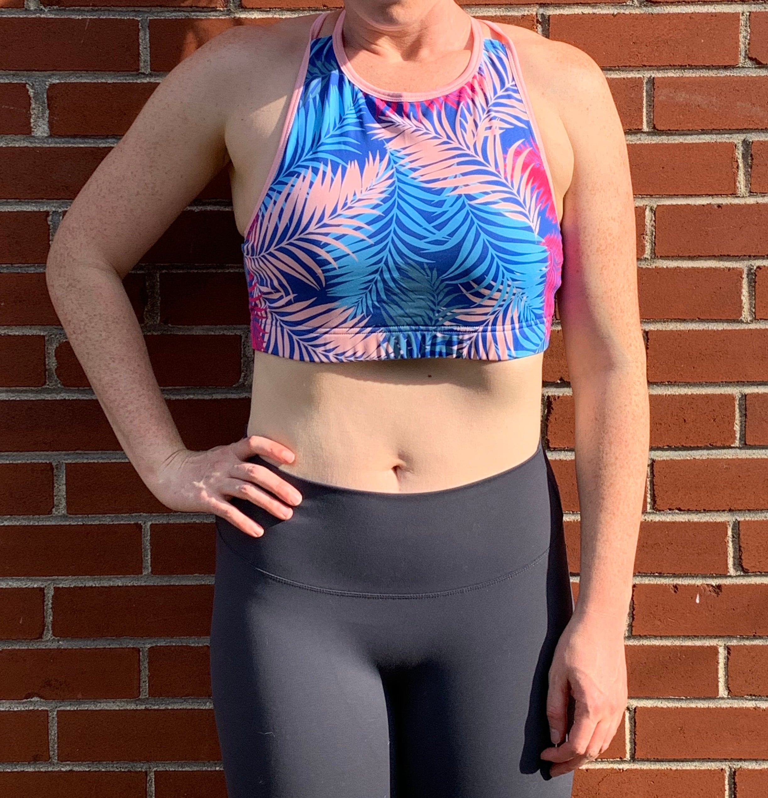 High neck - Palm tree sports bra