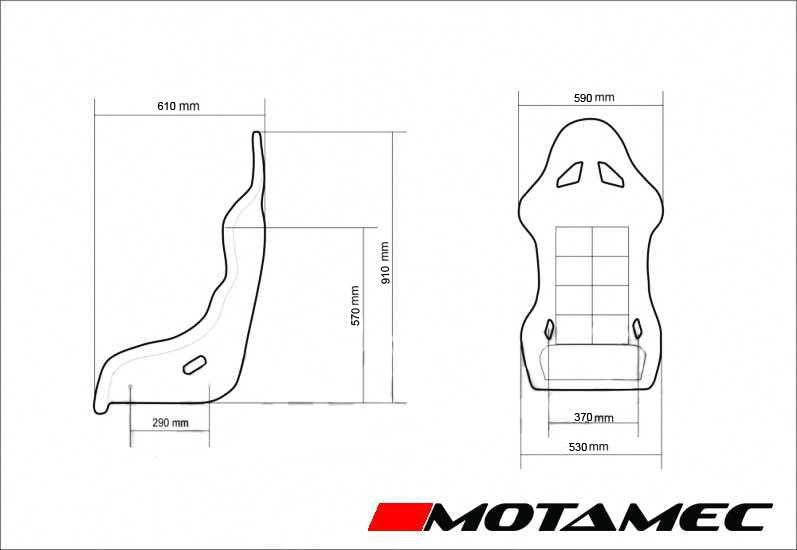 Motamec Racing GT01 Race Seat Fiberglass Shell BLACK