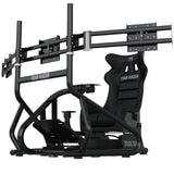 "Trak Racer RS6 Mach 3 Sim Racing Cockpit + Triple 34""- 45"" Monitor Stand BUNDLE"