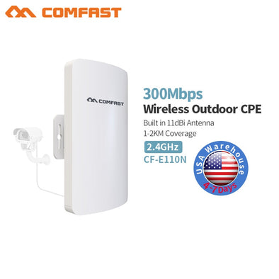 1-3KM 2.4GHz Wireless Outdoor CPE Bridge 300Mbps AP Router Access Point 200mW WIFI Repeater Extender Support  24V PoE