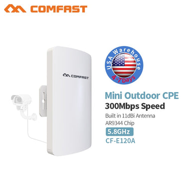 11ac 5GHz 300Mbps 3KM Outdoor CPE Wireless WiFi Repeater Router Extender AP Access Point WiFi Bridge 11dBi  Antenna POE Adapter