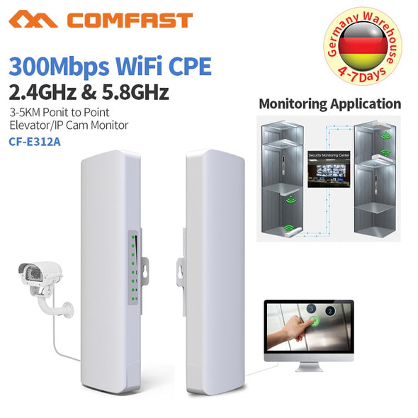 2Pcs Outdoor Weatherproof CPE/Wifi Extender/Access Point/Router/Long Range Wifi Bridge 5GHz 30Mbps Dual 14dbi Antenna WIFI Route
