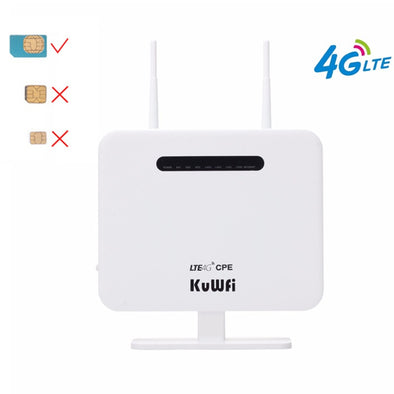 KuWFi 4G Routers LTE Wireless CPE Mobile Router With LAN Port Support SIM Card 300Mbps Wireless Router With External Antennas